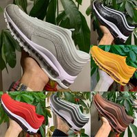 Nike air max 97 Running shoes airmax 97 Hommes Chaussures de course Blanc Evergreen Sunburst FASHION Olive Triple noir Équipe sportive Rouge Hommes Sneakers 40-45