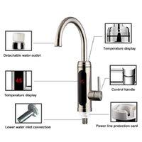 Elektrikli su ısıtıcı sıcaklık ekran mutfak tankless anında sıcak su musluk 3000 w cwmsports deniz sgipping hhe4134
