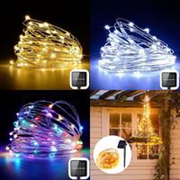 Lampada solare String luci moderne 100 LED 10m Catene esterna di natale decorazioni illuminanti freddo caldo di colori 2 Modalità 13 9LS G2