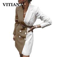 Vitiana Mujeres Primavera Larga Blazers y Chaquetas Femenino Manga Larga Botones Pactichwork Office Chaqueta 2020 Femme White Blazer1