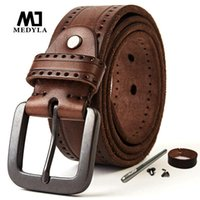 Gürtel Medyla Natürliche Ledergürtel Männer Hartmetall Matte Schnalle Original 100-150 cm Jeans Schraube Zubehör