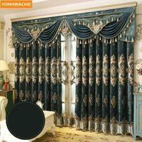 Personalizado cortinas europeu grosso chenille patch veludo telas bordadas pano de luxo blackout cortina tule valention drapes n9011