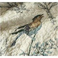 Großhandel-100% Baumwolle Steppdecke Bettdecke Pastoral Vogel- und Blumen Bett Quilt 3Pc Set King Size Quilt Cover Set Home Textile Bettwäsche Tücher SchuE
