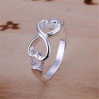 سعر الجملة لسيدة النساء المدرجة الفضة اللون مزدوج الصليب الدائري مجوهرات لطيف هدية R092 H SQCOGS