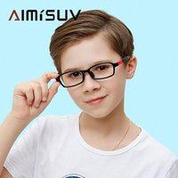 선글라스 패션 안티 푸른 빛 아이 안경 2021 직사각형 유연한 실리콘 광학 프레임 소년 소녀 컴퓨터 아이 워드 어린이 UV400