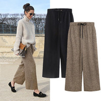 Winter Woolen Pleated Long Pants Women Elastic Waist Loose P...