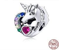Bilezikler Kolye için Hotsales 925 Gümüş Zirkon Taş Renkli Elmas Unicorn Gevşek Boncuk Anne Harf Baskılı Charms