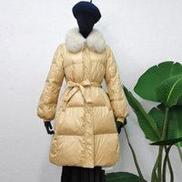 Janveny hiver femmes veste vers le bas Grand col de fourrure naturelle 90% duvet de canard blanc Parkas Slim long Outwear avec ceinture Coat Femme