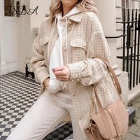 FSDA Tweed 2021 Women Long Sleeve Plaid Vintage Jacket Loose...