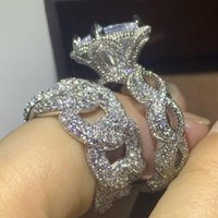 HIP HOP NOUVEAU vente chaude Vintage mode bijoux 925 Sterling Argent Pave Blanc Clear CZ Femmes Bague de mariage