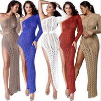 Hot Sale Women Sexy Dresses Strapless Hollow Out Party Dress Fashion Beach Dresses Split Skirt Sexy Clubwear 5 Colors