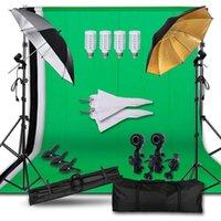 Beleuchtung Studio Zubehör Professionelles Pografie Ausrüstung Kit mit Hintergrundstützsystem Kulissen Weicher Regenschirm Glühbirnen PO STUD