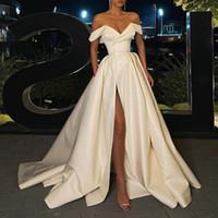 Элегантные свадебные платья 2021 Последние на плечо A-Line Bridal платье свадебные платья для свадебных платьев для поезда из слоновой кости сатинские карманы без спинки
