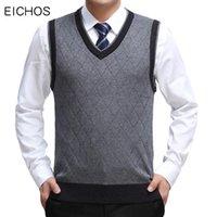 남자 스웨터 EICHOS 고품질 클래식 조끼 스웨터 V 넥 풀오버 남성 비즈니스 정식 패션 격자 무늬 민소매 니트