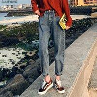 Casual GUUZYUVIZ Vintage autunno inverno spesso Jeans Donna vita alta Plus Size Chic allentata Denim Harem Mujer 201017 Cotone