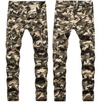 Skinny Mens Camo Jeans Cool Homens Calças De Jeans Estiramento Slim Fit Denim Biker Jeans Hip Hop Homens Streetwear 755 #