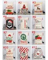HOT Christmas Canvas drawstring bag Drawstring Bag Reindeers Santa Sack Bags Drawstring Canvas Present Bag Xmas bags Decorations DHL free