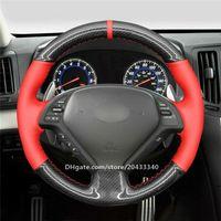 Siyah PU Karbon Fiber Direksiyon Kapak Infiniti G37 G25 G35 EX EX35 EX37