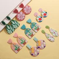 Aensoa 여러 가지 빛깔의 낙서 꽃 패턴 시뮬레이션 된 폴리머 점토 드롭 귀걸이 여성 기하학 핑크 그린 히트 컬러 아크릴 귀걸이