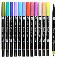 Dainaayw двойные кисточки пера маркеры искусства, первичные, 12-пакет, кисти ABT и мелкие маркеры наконечника для создания карты журналов 201102