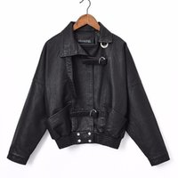 FMFSsom New Autunno Donne Autunno Giacca in pelle Giacca in pelle Slim Vintage Punk PU Faux Leather BF Giacche corte Bamber Bomber Cappotti 201030