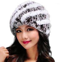 Beanie / Cappas de cráneo 2021 Moda hecha a mano Moda de mujer Real Hecha de punto Rex Sombreros de piel Lady Winter Warm Charm Beories Vendiendo # WBY1
