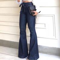 Kot Uzun Moda Bayan Büyük Boy Bağlama Kot Yüksek Bel Streç İnce Seksi Flare Pantolon Tehlike Bezi # 31