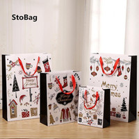 Stobag 12pcs Black Christmas Tote Paper for Baby Party Handmade Candy Package Parech Forniture Baby Show Addenare Decorazione del pacchetto1
