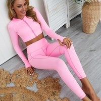 여성 스포츠 세트 지퍼 긴 소매 두 조각 세트 섹스 레깅스 및 탑 실행 스타킹 Tracksuit 체육관 의류 운동 운동복
