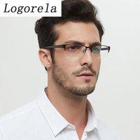 Logorela Ley Glasses Glass Brame Uomo Square Myopia Prescrizione Occhiali da vista EyeGlasses Mezza RIM Ottico Ottico Eyewear coreano 80531
