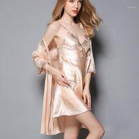 Donne da notte Sleepwear Silk Satin Women Robe Gown Set 2021 Autunno Accappatoio di nozze Abito da dormire + Robe Sexy Night Nightdress Home Wear1