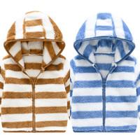 Autunno Inverno Bambini Abbigliamento Giacche Giacche Ragazze Giacca a strisce Maglione in lana Bambino Baby Boy Hooded Zipper Bambini Sport Vestiti Outwear Top Cappotto G12701
