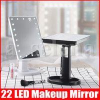 المكياج LED مرآة 360 درجة دوران الشاشة التي تعمل باللمس المكياج مستحضرات التجميل للطي المحمولة المدمجة الجيب مع 22 LED ضوء ماكياج ميرور