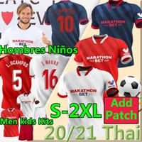 2020 Sevilla FC Soccer Jersey i.rakitic # 10 L.OCAMPOS # 5 2021 Sevilla de Jong J.Navas Suso Munir y.en-Nesyri Men + Kits Kits Camisetas de fútbol
