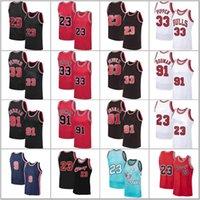 Scottie 33 Pappen Jerseys 23 الرجعية Chicagos Jerseys MJ Dennis 91 Rodman North Carolina State Meshball كرة السلة جيرسي