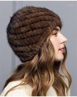 Berretto / cranio tappi donne real cappello inverno pelliccia invernale beanie 1