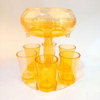 6 Shot-Becher-Spender mit 6 Acrylbecher Hängenden Halter-Ständer-Rack-Acryl-transparente Cocktail-Party zusammenkommen Wein-Dispenser ljjk2506