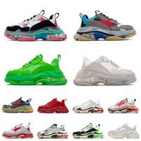 2021 Üçlü S Moda Şeffaf Taban Alt Paris 17FW Erkek Tasarımcı Sneakers Bağbozumu Baba Platformu Kadınlar Lüks Rahat Ayakkabılar Spor Eğitmenler