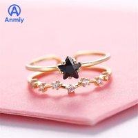 Anillos de racimo Anmiy Personalidad Amor Soleado Apertura Ajustable Star Star Doble Capa Movable Ring1