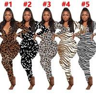 Женские комбинезоны Rompers Reopard Print с длинными рукавами V-образным вырезом Дизайнер ночной белье Ночная одежда Baysuit Bodysuit Женщины Pajama onsingies E122812