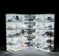Işık Akrilik Duvar Sneakers Ses Kutusu Organizatör Y1116 Depolama Raf Anti-Oksidasyon Ayakkabı Koleksiyonu Ayakkabı LED Ayakkabı Ekran Kontrol Kutusu Jllub