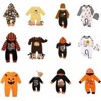 Cadılar Bayramı Bebek Giyim tulum Kabak Harf Kızlar Romper Şapka Uzun Kollu Bebek Boy Tulumlar Butik Bebek Giyim FFA4473 12styles