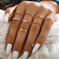 9шт / комплект Vintage золотой цвет Mix сердца Кольца для женщин Twist Pearl сердца Hollow Геометрическая Обручальные кольца ювелирные изделия
