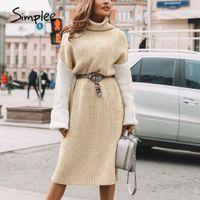 Simplee hohe Art und Weise Patchwork Kleider der Frauen beiläufigen Schildkröte Winter Strickwaren lange Pullover Kleid vestidos Strickkleid 200928