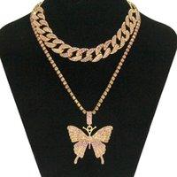 Хип-хоп замороженный горный хрусталь большие бабочки кулон ожерелье кубинские цепные цепные набор для женщин артиллерия Bling Crystal животных колье ювелирные изделия