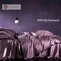 LIV-ESTHETE النبيلة 100٪ الحرير الجمال مجموعة مفروشات حريري صحي الأرجواني لحاف غطاء ورقة مسطحة وسادات الملكة الملك سرير الكتان مجموعة 201211