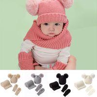 0-3 Yıl Çocuklar Bebekler Kış Şapka 2 POMS Bere Kap + Eşarp + Glovers Eldivenler Set Sıcak Örme Tığ Tuque Katı Şapkalar Kostüm LY10301