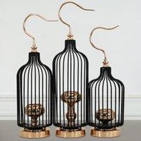 Porte-bougie rétro oiseau cage bougeoir porte-bougie européenne chandelles de Noël village de village de chandelier lanterne maison artisanat