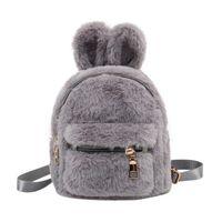Children School Bag Plush Faux Fur Mini Ears Kids Backpacks Girls Kindergarten Shoulder Backpack