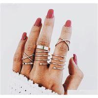 Heiße Modeschmuck Vintage Gold Ring Set Mähdrecke Gelenk Ringband Ring Zehen R Sqcnwt Homes2007